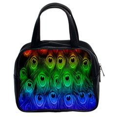 Peacock Feathers Rainbow Classic Handbags (2 Sides)