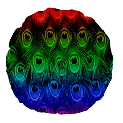 Peacock Feathers Rainbow Large 18  Premium Round Cushions