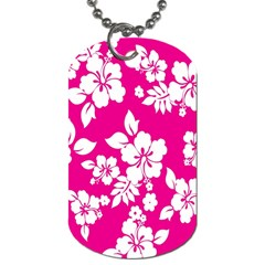 Pink Hawaiian Flower Dog Tag (two Sides) by AnjaniArt