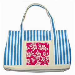 Pink Hawaiian Flower Striped Blue Tote Bag