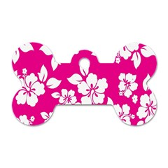 Pink Hawaiian Flower Dog Tag Bone (two Sides) by AnjaniArt
