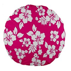 Pink Hawaiian Flower Large 18  Premium Round Cushions by AnjaniArt