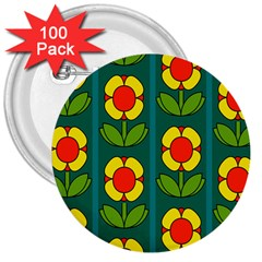 Retro Flowers Floral Rose 3  Buttons (100 Pack)