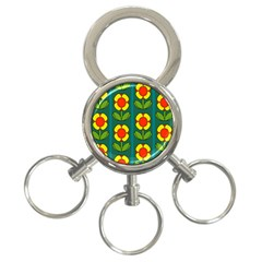 Retro Flowers Floral Rose 3 Ring Key Chains