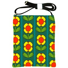 Retro Flowers Floral Rose Shoulder Sling Bags by AnjaniArt