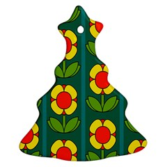 Retro Flowers Floral Rose Christmas Tree Ornament (two Sides)