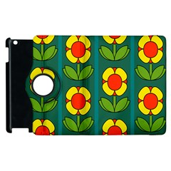 Retro Flowers Floral Rose Apple Ipad 3/4 Flip 360 Case by AnjaniArt