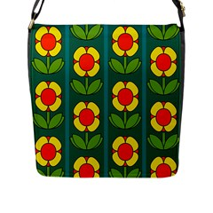 Retro Flowers Floral Rose Flap Messenger Bag (l)  by AnjaniArt