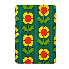 Retro Flowers Floral Rose Samsung Galaxy Tab 2 (10 1 ) P5100 Hardshell Case  by AnjaniArt