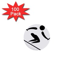 Alpine Skiing Pictogram  1  Mini Buttons (100 Pack)  by abbeyz71