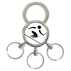 Alpine Skiing Pictogram  3 Ring Key Chains by abbeyz71