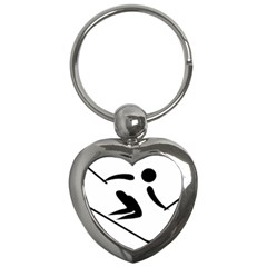 Alpine Skiing Pictogram  Key Chains (heart)  by abbeyz71