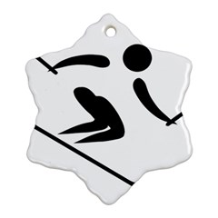 Alpine Skiing Pictogram  Snowflake Ornament (two Sides) by abbeyz71