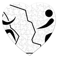 Mountaineering Climbing Pictogram  Jigsaw Puzzle (heart) by abbeyz71