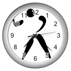 American Football Pictogram  Wall Clocks (silver)  by abbeyz71