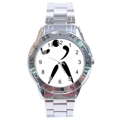 American Football Pictogram  Stainless Steel Analogue Watch by abbeyz71