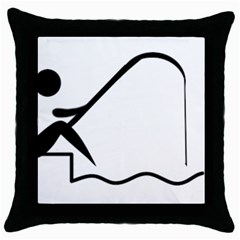 Angling Pictogram Throw Pillow Case (black) by abbeyz71