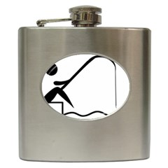 Angling Pictogram Hip Flask (6 Oz) by abbeyz71