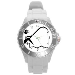 Angling Pictogram Round Plastic Sport Watch (l) by abbeyz71