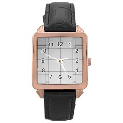 Abstract Architecture Contemporary Rose Gold Leather Watch