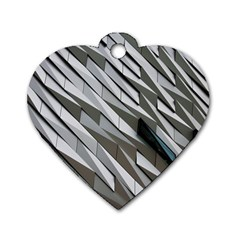 Abstract Background Geometry Block Dog Tag Heart (one Side) by Amaryn4rt
