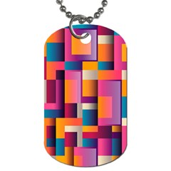 Abstract Background Geometry Blocks Dog Tag (two Sides) by Amaryn4rt