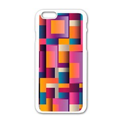 Abstract Background Geometry Blocks Apple Iphone 6/6s White Enamel Case