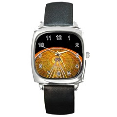 Abstract Blur Bright Circular Square Metal Watch by Amaryn4rt