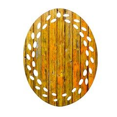 Background Wood Lath Board Fence Oval Filigree Ornament (two Sides) by Amaryn4rt