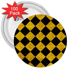 Square2 Black Marble & Yellow Marble 3  Button (100 Pack) by trendistuff