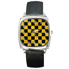 Square1 Black Marble & Yellow Marble Square Metal Watch by trendistuff