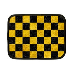 Square1 Black Marble & Yellow Marble Netbook Case (small) by trendistuff