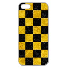Square1 Black Marble & Yellow Marble Apple Seamless Iphone 5 Case (clear) by trendistuff