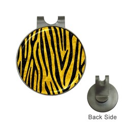 Skin4 Black Marble & Yellow Marble Golf Ball Marker Hat Clip by trendistuff