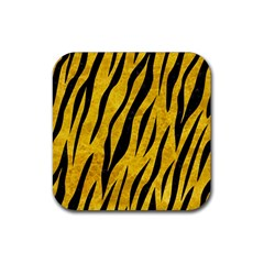 Skin3 Black Marble & Yellow Marble (r) Rubber Coaster (square) by trendistuff
