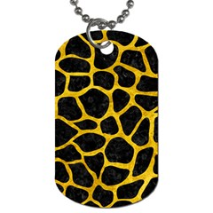 Skin1 Black Marble & Yellow Marble (r) Dog Tag (one Side) by trendistuff