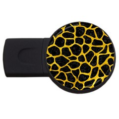Skin1 Black Marble & Yellow Marble (r) Usb Flash Drive Round (4 Gb) by trendistuff