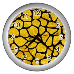 Skin1 Black Marble & Yellow Marble Wall Clock (silver) by trendistuff