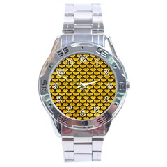 Scales3 Black Marble & Yellow Marble (r) Stainless Steel Analogue Watch by trendistuff