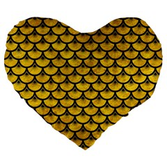 Scales3 Black Marble & Yellow Marble (r) Large 19  Premium Flano Heart Shape Cushion by trendistuff