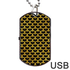 Scales3 Black Marble & Yellow Marble Dog Tag Usb Flash (one Side) by trendistuff