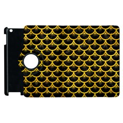 Scales3 Black Marble & Yellow Marble Apple Ipad 2 Flip 360 Case by trendistuff
