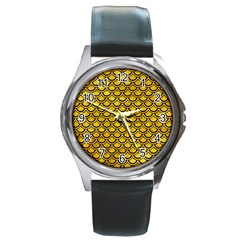 Scales2 Black Marble & Yellow Marble (r) Round Metal Watch by trendistuff