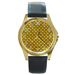 Scales2 Black Marble & Yellow Marble (r) Round Gold Metal Watch by trendistuff