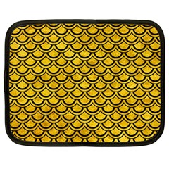 Scales2 Black Marble & Yellow Marble (r) Netbook Case (large) by trendistuff