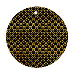 Scales2 Black Marble & Yellow Marble Ornament (round) by trendistuff