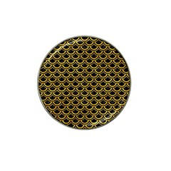 Scales2 Black Marble & Yellow Marble Hat Clip Ball Marker by trendistuff