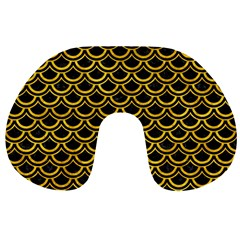 Scales2 Black Marble & Yellow Marble Travel Neck Pillow by trendistuff