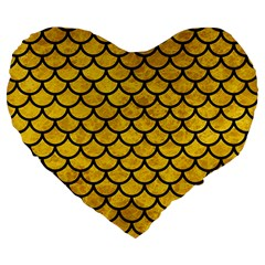 Scales1 Black Marble & Yellow Marble (r) Large 19  Premium Flano Heart Shape Cushion by trendistuff