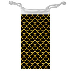 Scales1 Black Marble & Yellow Marble Jewelry Bag by trendistuff